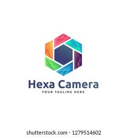 Creative Colorful Hexa Camera abstract logo design template Vector illustration