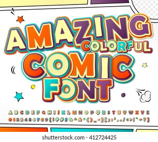 Creative colorful high detail comic font. Alphabet in style of comics, pop art. Multilayer funny letters and figures for decoration of kids' illustrations, websites, posters, comics, banners