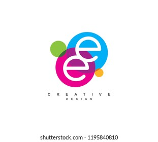 Creative colorful linked circles style letter EE Logo