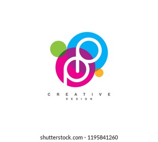 Creative colorful linked circles style letter PP Logo