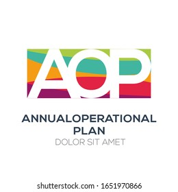 Creative colorful logo , AOP mean (annual operational plan) .