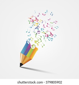 Creative colorful music pencil. Writing concept. Vector illustration