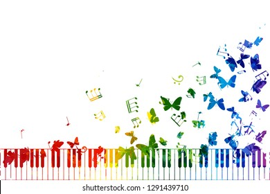 Creative colorful musical illustration. Vector decoration element with piano keys, notes and flying butterflies.