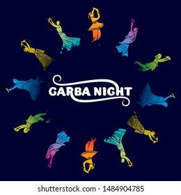 creative colorful navratri festival, couple playing garba or dandiya dance poster design