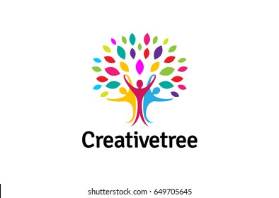 Creative Colorful People Tree Logo Design Illustration