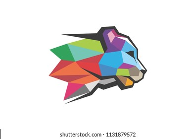 Creative Colorful Polygonal Panther Head Logo Symbol Vector Illustration