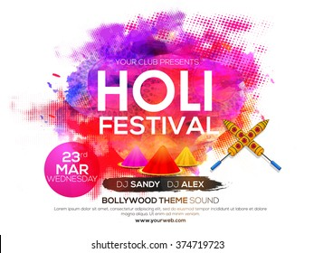 Creative colorful Poster, Banner or Flyer design for Indian Festival of Colours, Holi celebration.