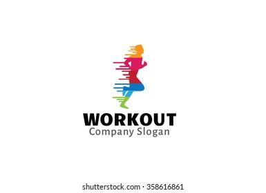 Creative Colorful Runner Man Workout Design Illustration