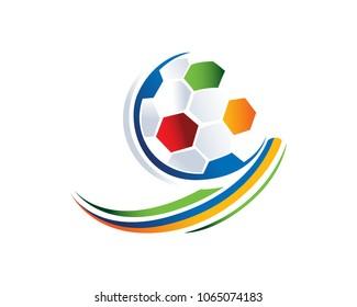 futsal logo images stock photos vectors shutterstock https www shutterstock com image vector creative colorful soccer logo illustration white 1065074183