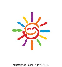 creative colorful sun smile education logo template design vector with isolated white background