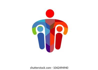 Creative Colorful Three Persons Parent Children Logo Design Illustration