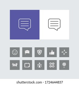 Creative Comments or Speech Bubble Line Icon with Bonus Icons.