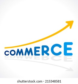 creative commerce word design like growth graph vector