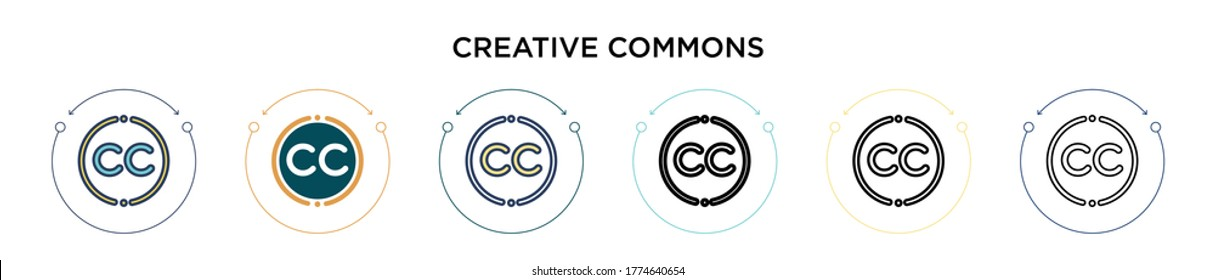 Creative commons icon in filled, thin line, outline and stroke style. Vector illustration of two colored and black creative commons vector icons designs can be used for mobile, ui, web
