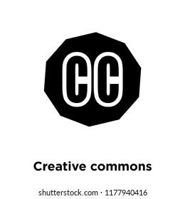 Creative commons icon vector isolated on white background, logo concept of Creative commons sign on transparent background, filled black symbol