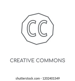 Creative commons linear icon. Creative commons concept stroke symbol design. Thin graphic elements vector illustration, outline pattern on a white background, eps 10.