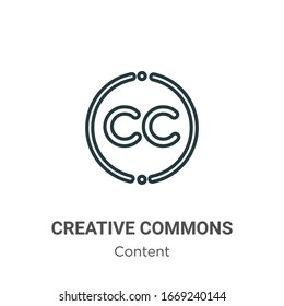 Creative commons outline vector icon. Thin line black creative commons icon, flat vector simple element illustration from editable content concept isolated stroke on white background