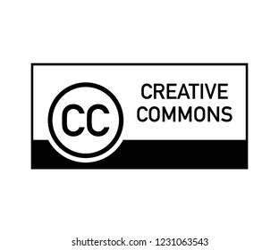 Creative commons rights management sign with circular CC icon. Vector stock illustration.