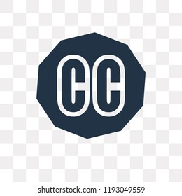 Creative commons vector icon isolated on transparent background, Creative commons transparency concept can be used web and mobile