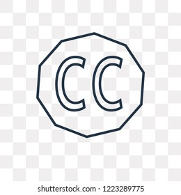 Creative commons vector outline icon isolated on transparent background, high quality linear Creative commons transparency concept can be used web and mobile