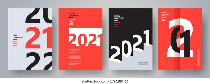 Creative concept of 2021 Happy New Year posters set. Design templates with typography logo 2021 for celebration and season decoration. Minimalistic trendy backgrounds for branding, banner, cover, card