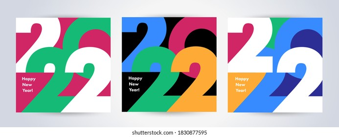Creative concept of 2022 Happy New Year posters set. Design templates with typography logo 2022 for celebration and season decoration. Minimalistic trendy backgrounds for branding, banner, cover, card