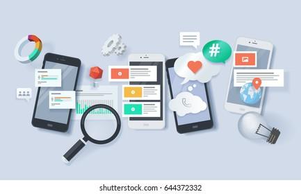 Creative concept banner. Vector illustration for mobile apps , services, solutions, mobile website development, m-commerce, social media, seo, networking.