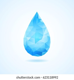 Creative concept of blue triangle water drop. Vector polygonal water symbol with a shadow. Abstract geometrical drop of water.
