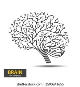 Creative concept of the brain tree design. Digital Tree, technology, network, wireless, internet, communication, nature vector illustration.