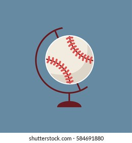 A creative & concept clean modern baseball  like a vector Globe illustration. Sports advertising for international base ball game in the world