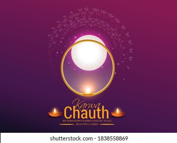 Creative concept with decorated karwa indian festival of sieve during Karwa Chauth celebration in India background