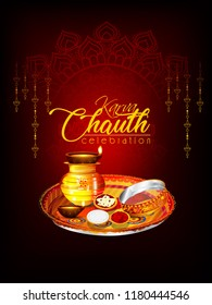 Creative concept with decorated pooja thali for indian festival of karwa chauth celebration, woman Traditional Clothing