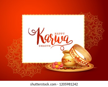 Creative concept with decorated pooja thali for indian festival of karwa chauth celebration.
