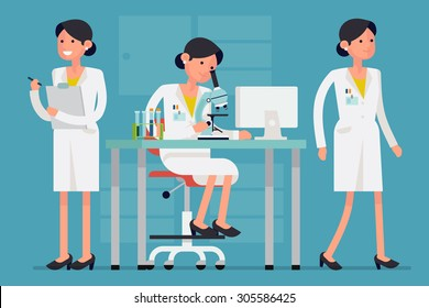 Creative concept design on female scientist character in different poses and situations such as working on research with microscope, walking, holding clipboard