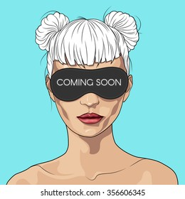 Creative concept design page web site Coming soon. Face of a beautiful girl with a blindfold, expressive full lips. Vector illustration for your presentation