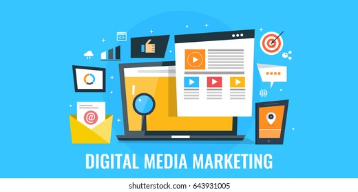 Creative concept of digital media marketing, web promotion, social media flat vector isolated on blue background
