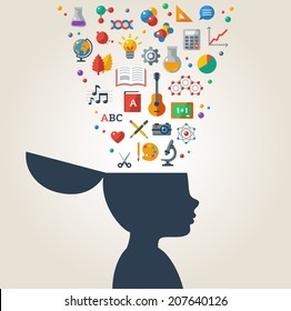Creative concept of education. Vector illustration. Boy silhouette with school icons and symbols in his head. Learning process.
