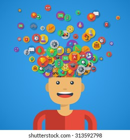Creative Concept of Education. Vector illustration. Boy Student with icons and Symbols Flying from his Head. Back to school. Learning Process.