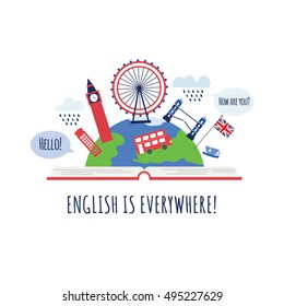 Creative concept of english language course or school. Open book with London landmarks. Big Ben, red phone box, red bus, Britain flag. Made in vector. Can be use like logo or for poster.