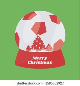 creative concept game symbol & merry christmas & soccer flat design cartoon. glass ball or snow globe vector. kicker greeting card & christmas tree for championship. play football. winter sport icon