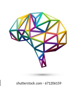 Creative concept of the human brain, colorful polygons, eps10 vector