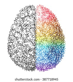 Creative concept of the human brain - left and right brain functions concept - analytical vs creativity - molecule based brain illustration