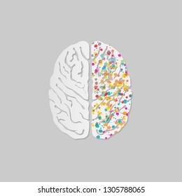 Creative concept of the human brain on grey background , Vector illustration