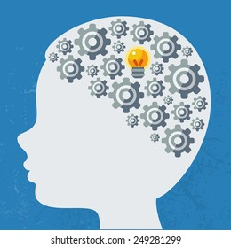 Creative concept of the human brain, vector illustration. Man head with abstract  gears.