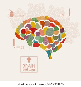 Creative concept of the human brain, vector illustration, thinking or mind concept of psychologies or design theme