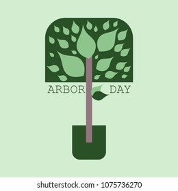 Creative concept illustration for the celebration of Arbor Day. Can be used for poster, badge, Logo, greetings, print, cards, and labels with tree elements.vector illustration of Arbor day. Image of a