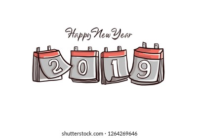 Creative Concept Illustration for Happy new Year 2019 Text. Hand drawn vector style of Hanging Calendar with number 2019 in different style.