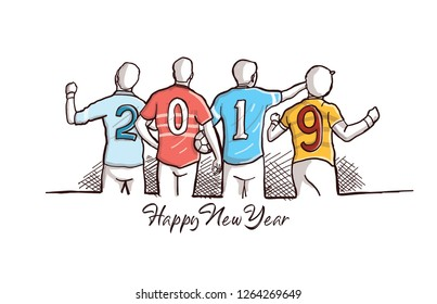 Creative Concept Illustration for Happy new Year 2019 Text. Hand drawn vector style of Football player with 2019 Jersey Number.