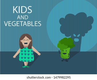 Creative concept illustration with little girl who afraid of catroon vegetable character - green broccoli behind her with huge ugly shade. Crying child don't like veggies. Dark scary room.