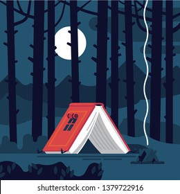 Creative concept illustration on fascinating book reading. Vector flat design background on imaginary world with camp tent in the shape of open book lost in the woods